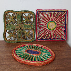 Set of 3 Vintage Boho Wicker Rattan Trivets